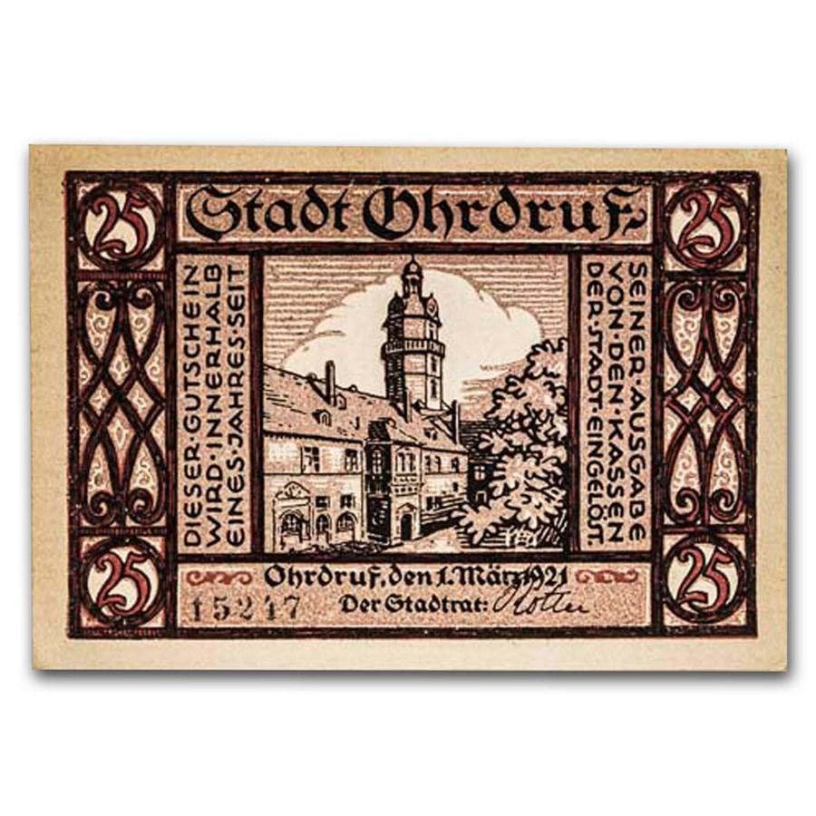 1921 Notgeld Ohrdruf 25 Pfennig CU (Plum/Maroon)