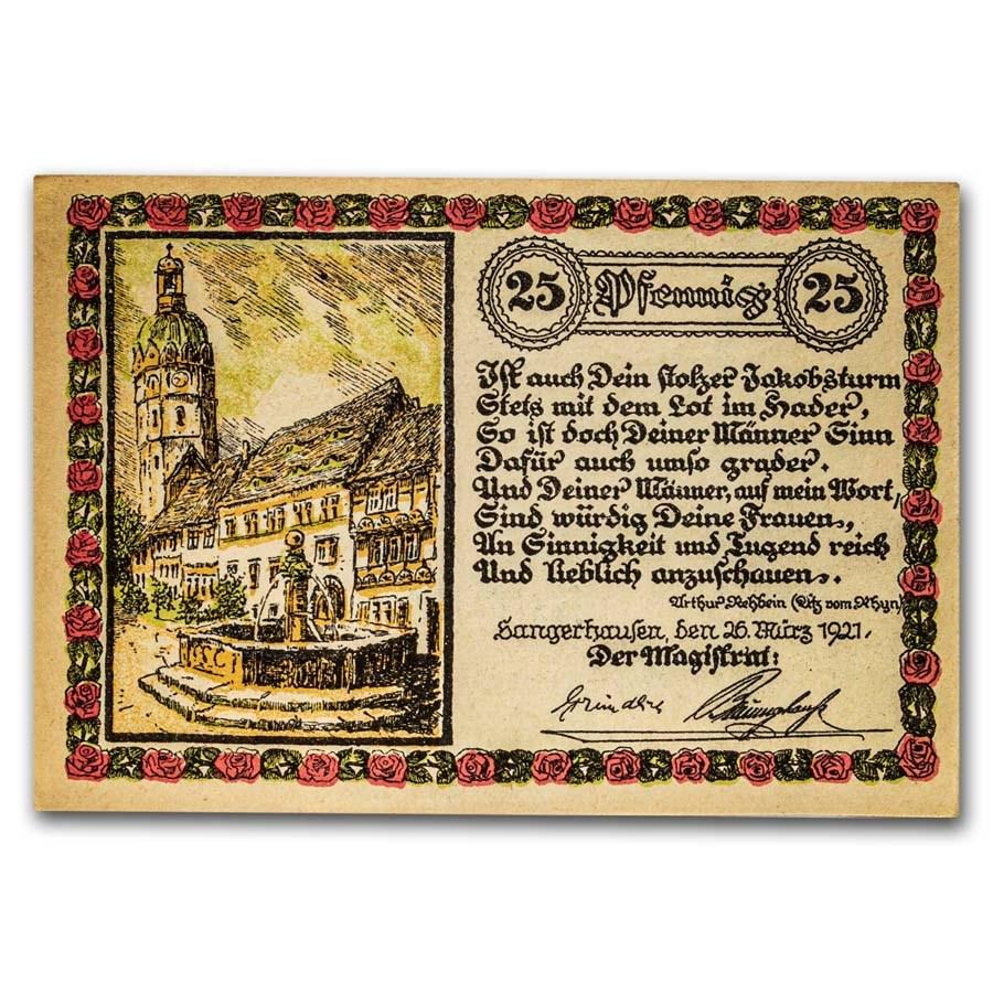 1921 Notgeld Sangerhausen 25 Pfennig CU (White/Pink/Green)