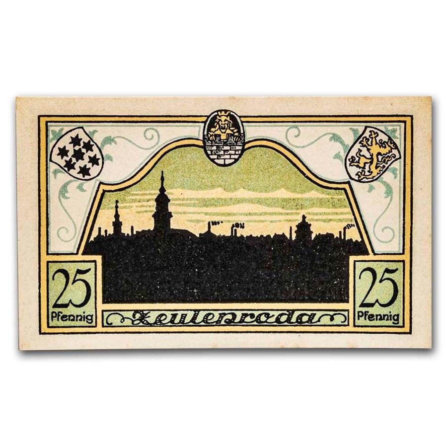 1921 Notgeld Zeulenroda 25 Pfennig CU (Olive/Yellow)