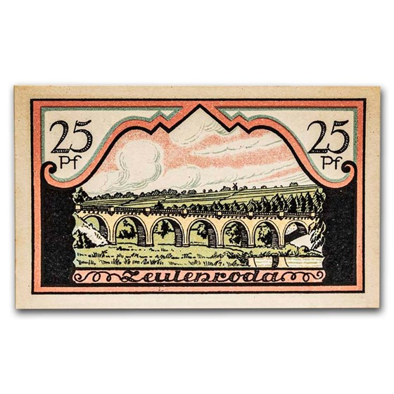 1921 Notgeld Zeulenroda 25 Pfennig CU (Pink/Olive/Yellow)