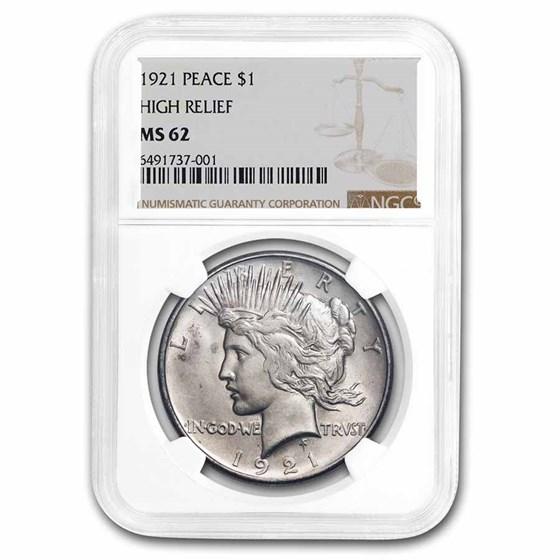 1921 Peace Dollar MS-62 NGC