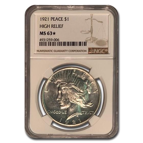 1921 Peace Dollar MS-63* NGC