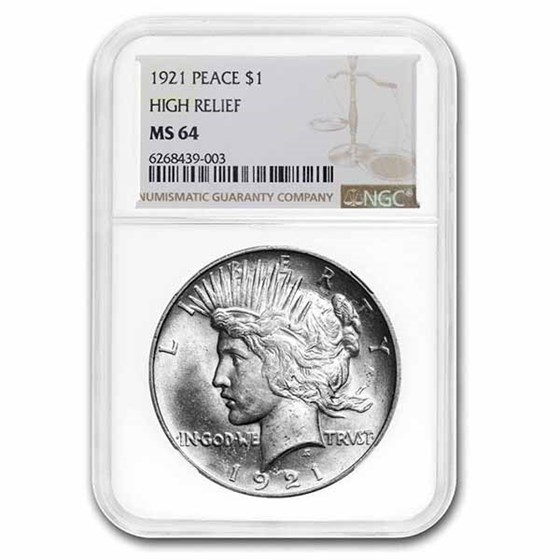 1921 Peace Dollar MS-64 NGC