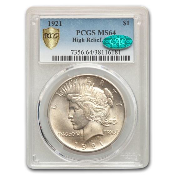 1921 Peace Dollar MS-64 PCGS CAC