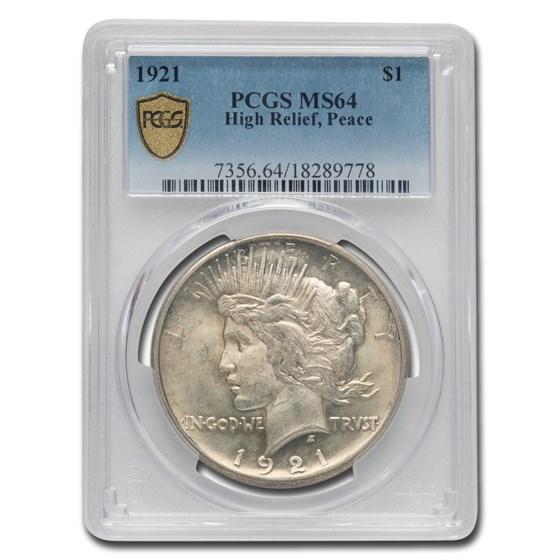 1921 Peace Dollar MS-64 PCGS