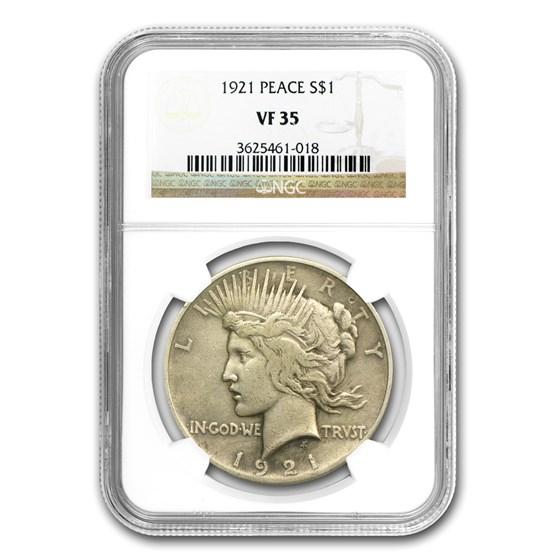 1921 Peace Dollar VF-35 NGC