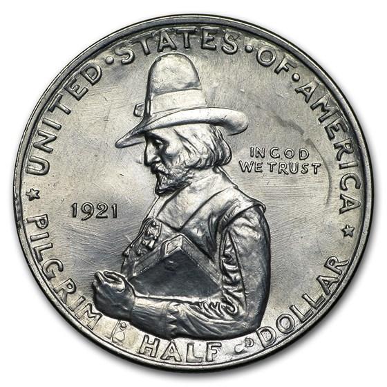 1921 Pilgrim Tercentenary Commem Half Dollar BU Dtls(Conical Hat)