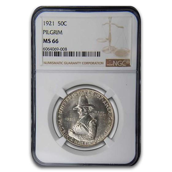 1921 Pilgrim Tercentenary Commem Half Dollar MS-66 NGC