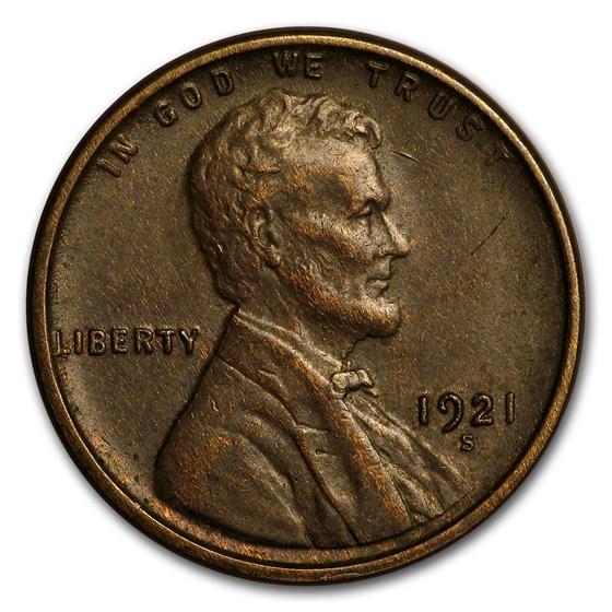 1921-S Lincoln Cent AU
