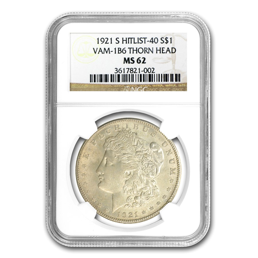 1921-S Morgan Dollar MS-62 NGC (VAM-1B6, Thornhead)