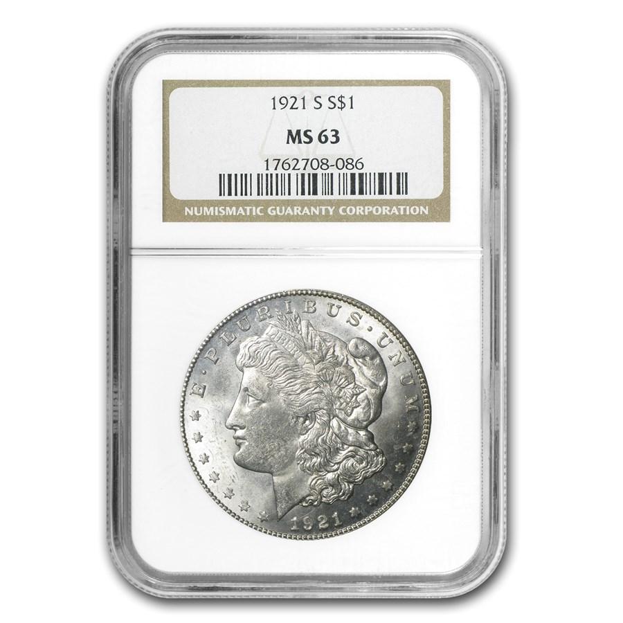 1921-S Morgan Dollar MS-63 NGC