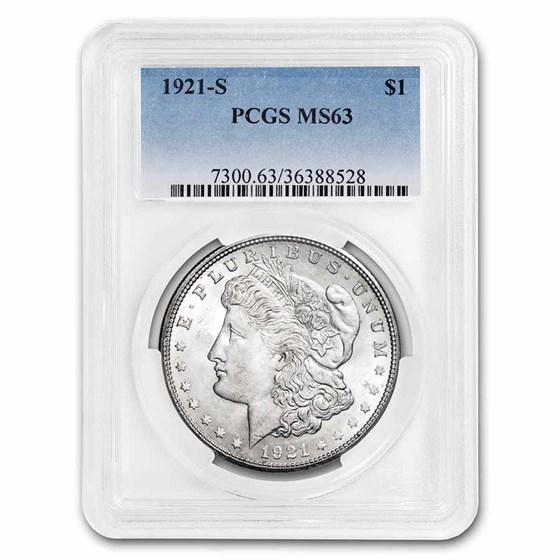 1921-S Morgan Dollar MS-63 PCGS