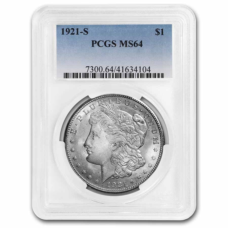1921-S Morgan Dollar MS-64 PCGS