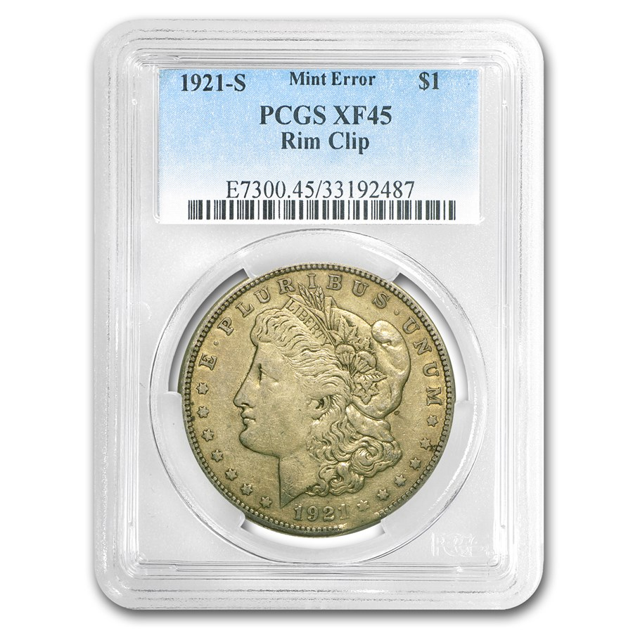 1921-S Morgan Dollar XF-45 PCGS (Rim Clip Mint Error)