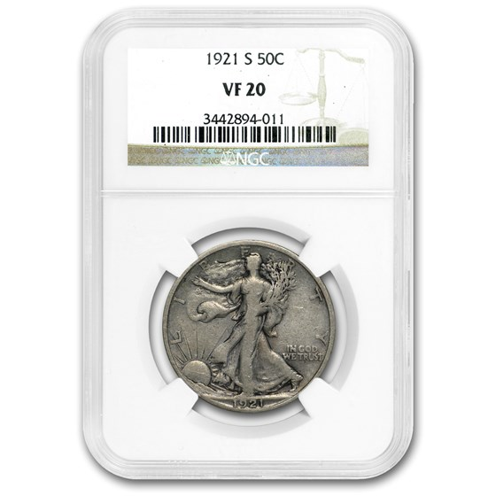 1921-S Walking Liberty Half Dollar VF-20 NGC