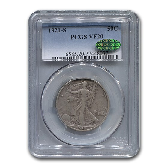 1921-S Walking Liberty Half Dollar VF-20 PCGS CAC