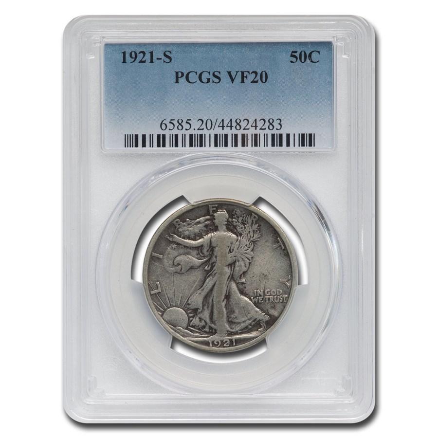 1921-S Walking Liberty Half Dollar VF-20 PCGS