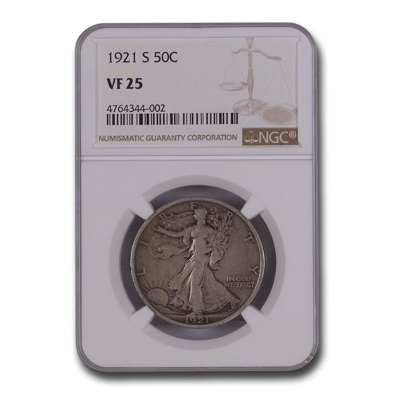 1921-S Walking Liberty Half Dollar VF-25 NGC
