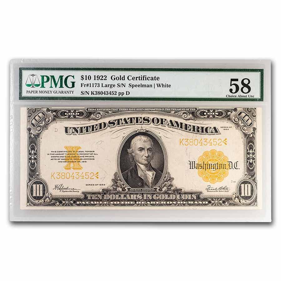 1922 $10 Gold Certificate AU-58 PMG (Fr#1173)