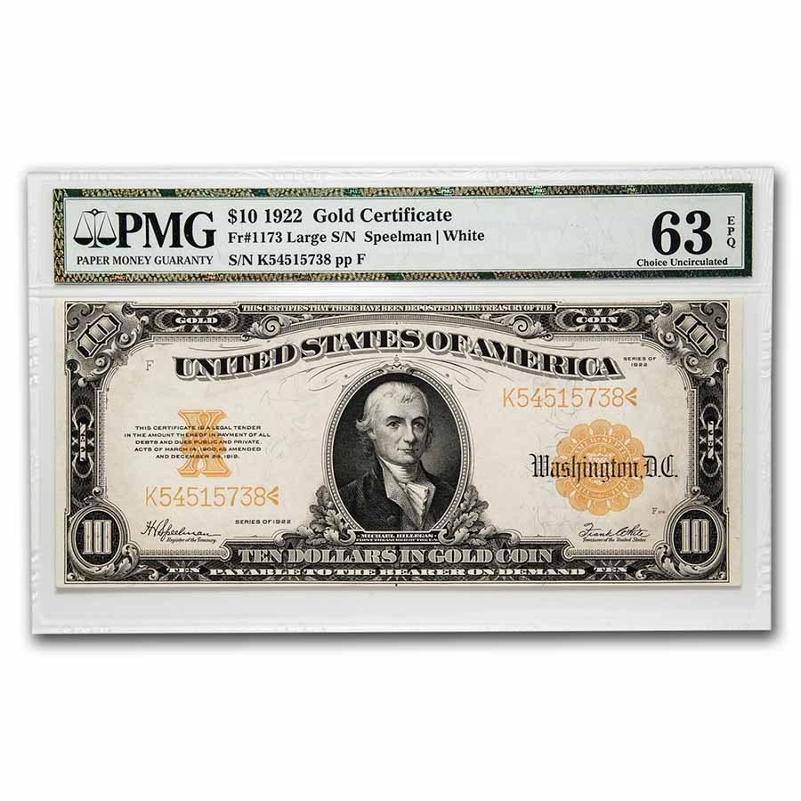 1922 $10 Gold Certificate Hillegas Choice CU-63 EPQ PMG (Fr#1173)