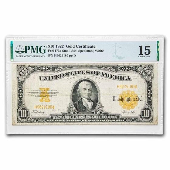 1922 $10 Gold Certificate Hillegas F-15 PMG (Fr#1173A) Sm Serial#
