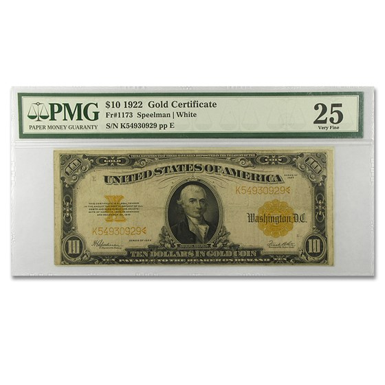 1922 $10 Gold Certificate Hillegas VF-25 PMG (Fr#1173)