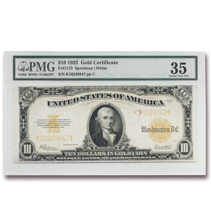 1922 $10 Gold Certificate Hillegas VF-35 PMG (Fr#1173)