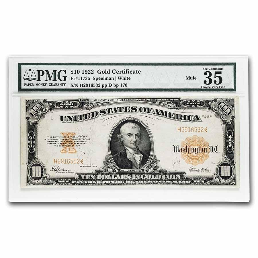 1922 $10 Gold Certificate Hillegas VF-35 PMG (Fr#1173a) Mule
