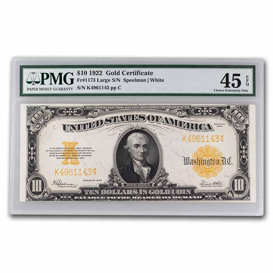 1922 $10 Gold Certificate Hillegas XF-45 EPQ PMG (Fr#1173)