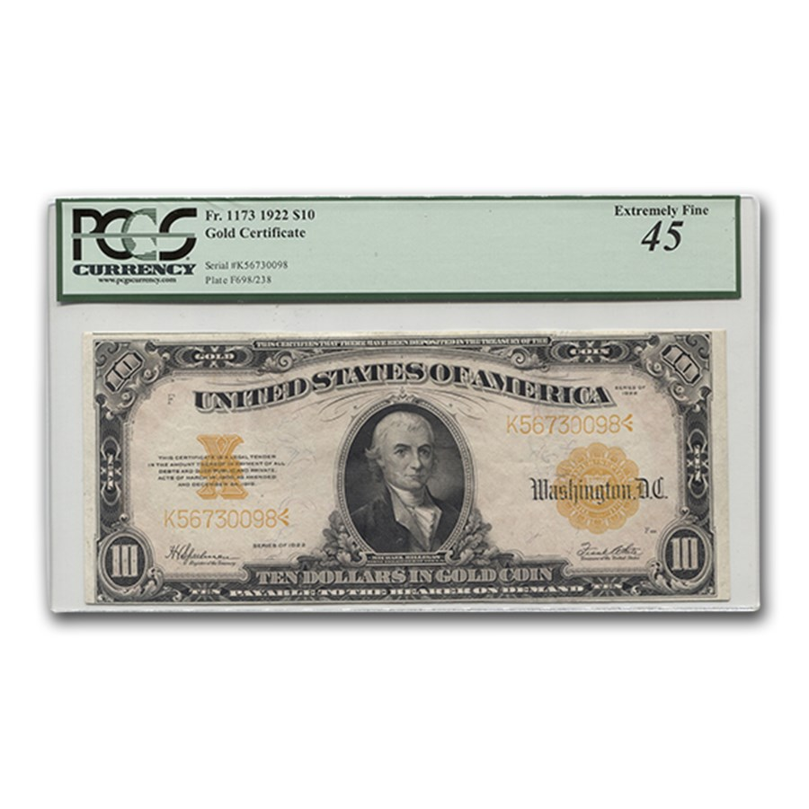 1922 $10 Gold Certificate Hillegas XF-45 PCGS