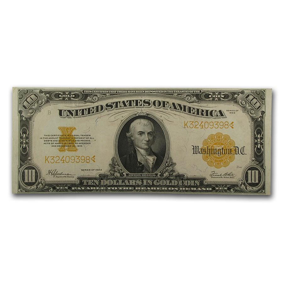 1922 $10 Gold Certificate Hillegas XF