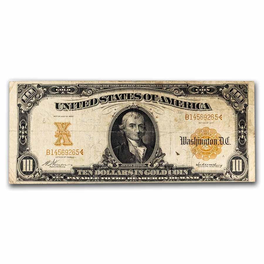 1922 $10 Gold Certificate VG (Fr#1168)