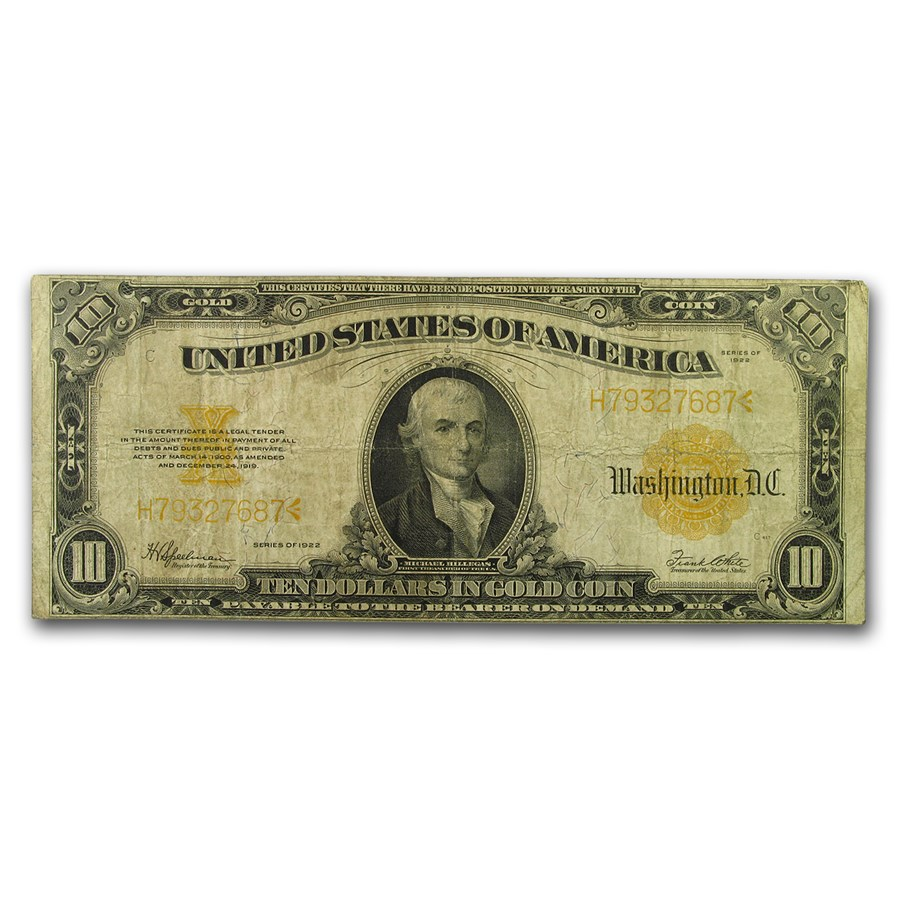 1922 $10 Gold Certificate VG (Fr#1173)