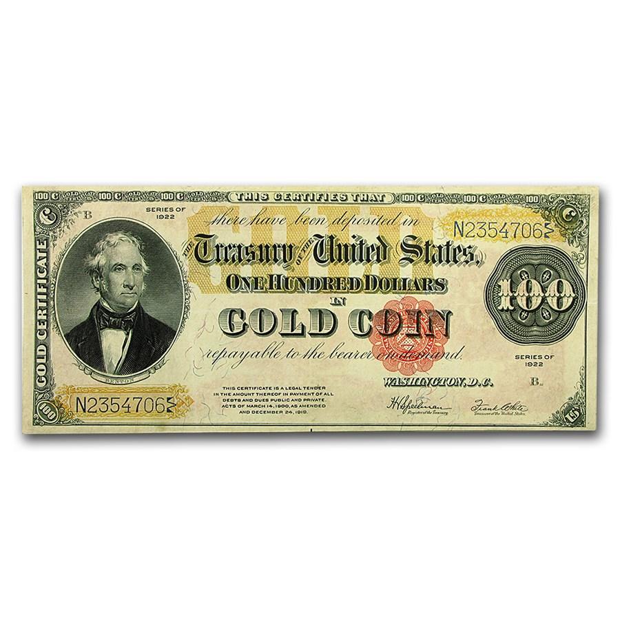 1922 $100 Gold Certificate AU