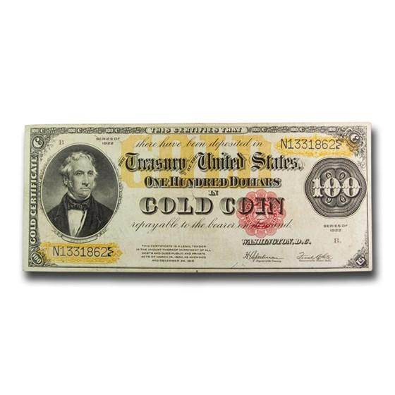 1922 $100 Gold Certificate VF (Fr#1215)