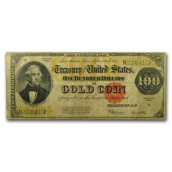 1922 $100 Gold Certificate VG