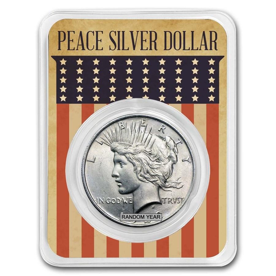 1922-1935 Peace Silver Dollar Eagle Flag Card BU (Random Year)