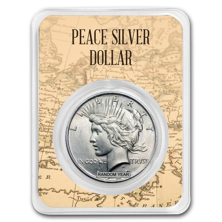1922-1935 Peace Silver Dollar Eagle Map Card BU (Random Year)