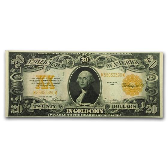 1922 $20 Gold Certificate Choice AU