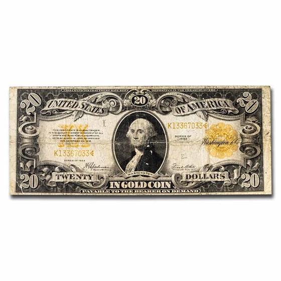 1922 $20 Gold Certificate Cull