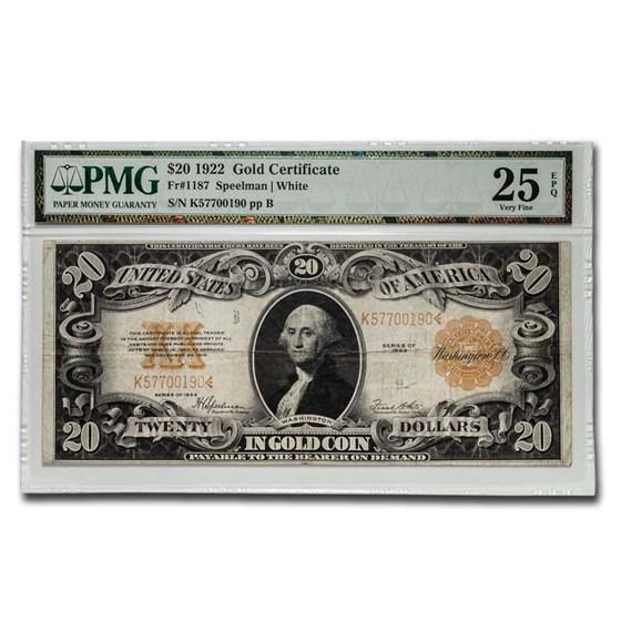 1922 $20 Gold Certificate VF-25 EPQ PMG