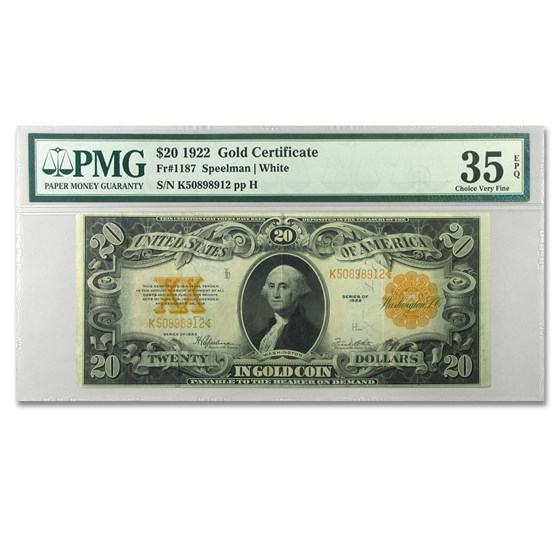 1922 $20 Gold Certificate VF-35 PMG (EPQ)