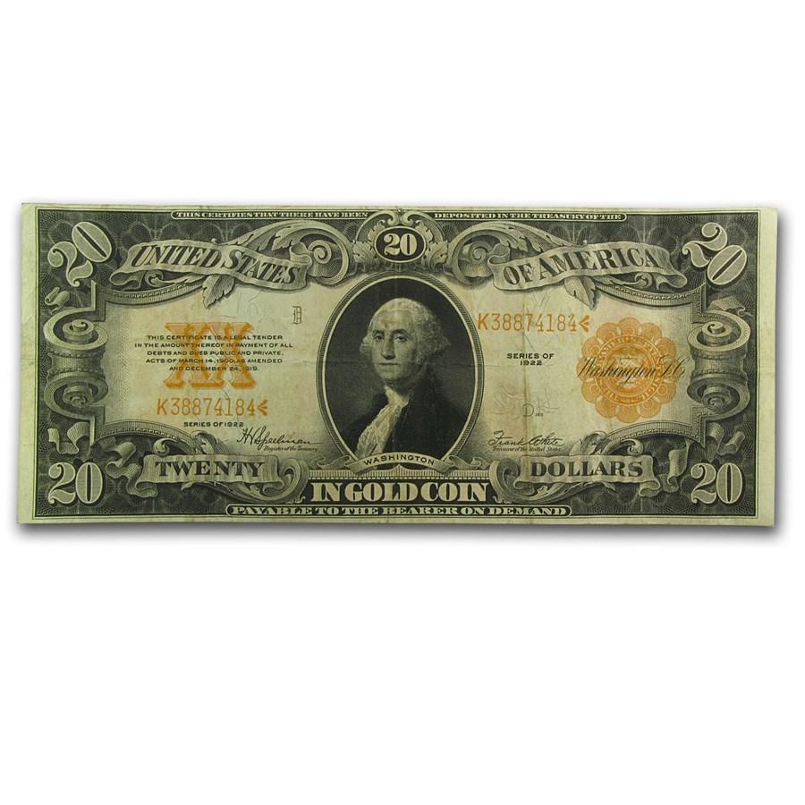 1922 $20 Gold Certificate VF+ (Fr#1187)