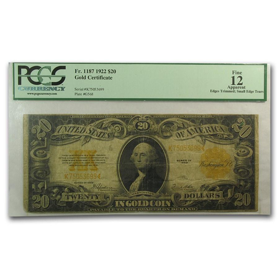 1922 $20 Gold Certificate Washington Fine-12 PCGS