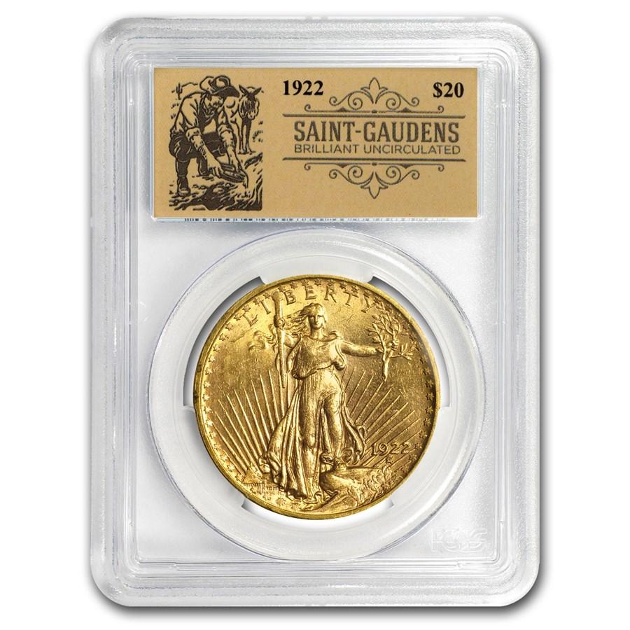 1922 $20 Saint-Gaudens Double Eagle BU PCGS (Prospector Label)