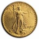 1922 $20 Saint-Gaudens Gold Double Eagle AU