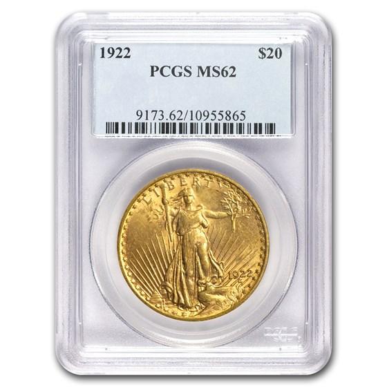 1922 $20 Saint-Gaudens Gold Double Eagle MS-62 PCGS