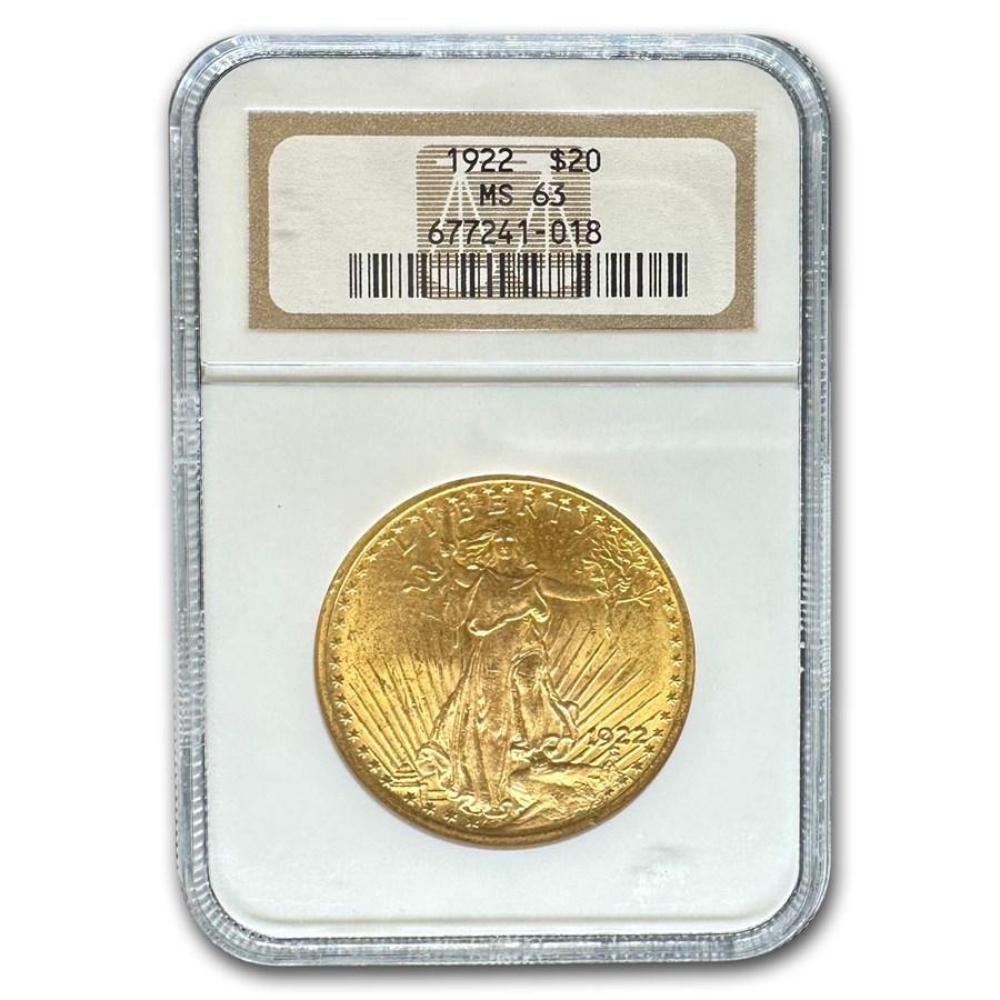 1922 $20 Saint-Gaudens Gold Double Eagle MS-63 NGC