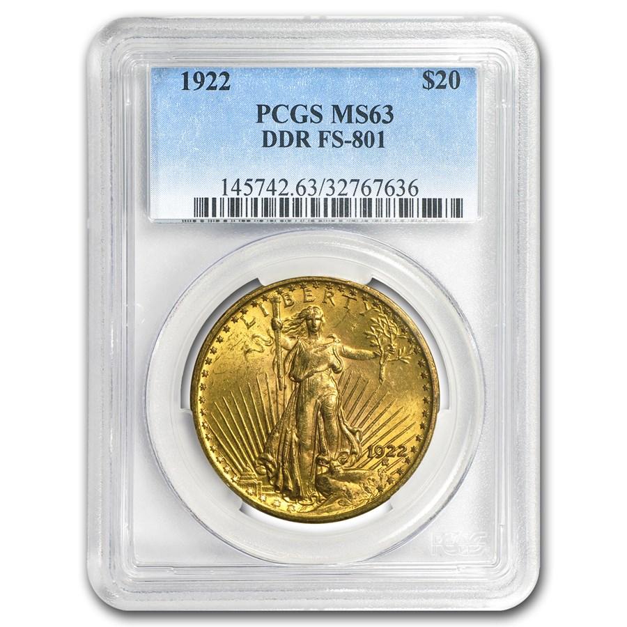 1922 $20 Saint-Gaudens Gold Double Eagle MS-63 PCGS (DDR FS-801)