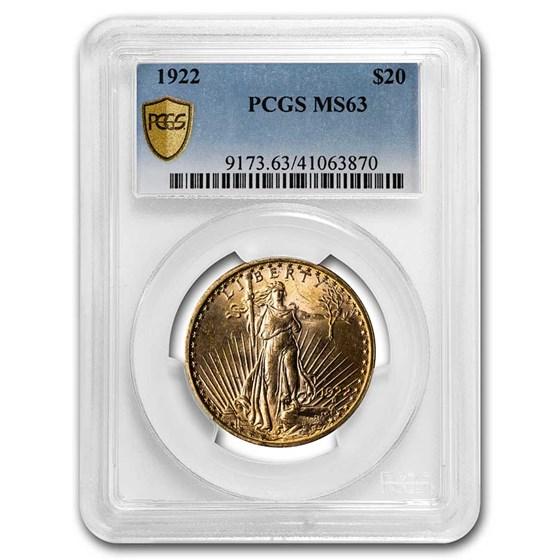 1922 $20 Saint-Gaudens Gold Double Eagle MS-63 PCGS